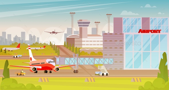 Airport Territory Big City Flat Illustration. - Business Conceptual