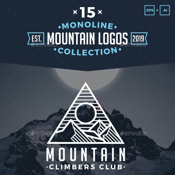15 Monoline Mountain Logos Pack