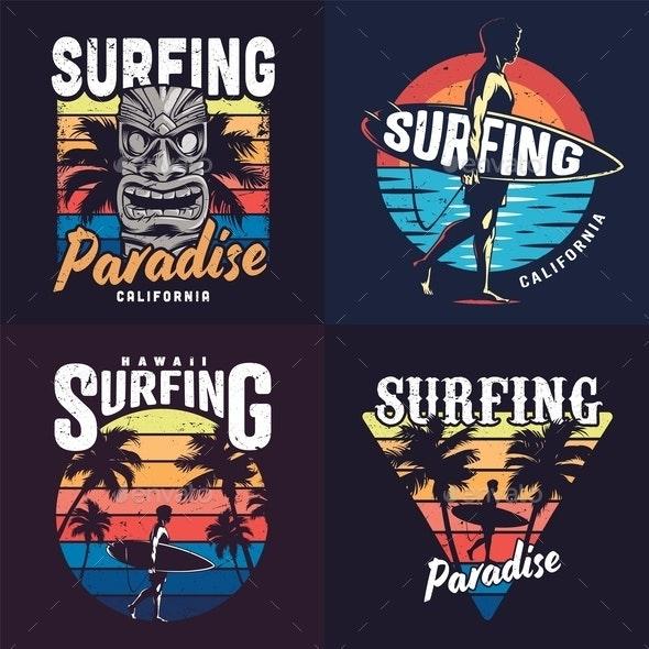 Vintage Colorful Surfing Prints Set - Sports/Activity Conceptual