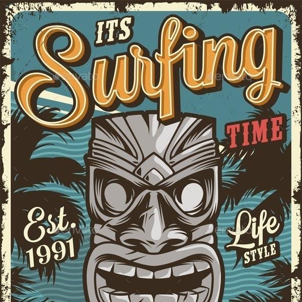 Vintage Surfing Poster