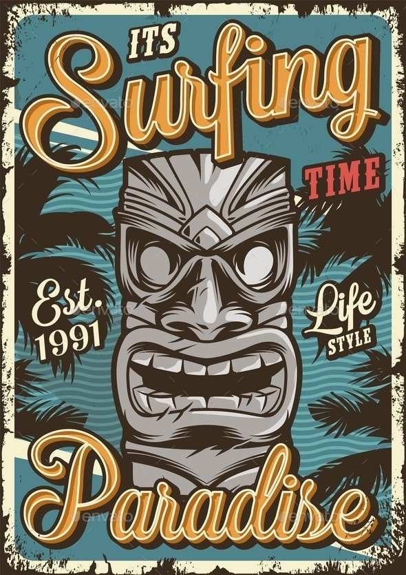 Vintage Surfing Poster - Sports/Activity Conceptual