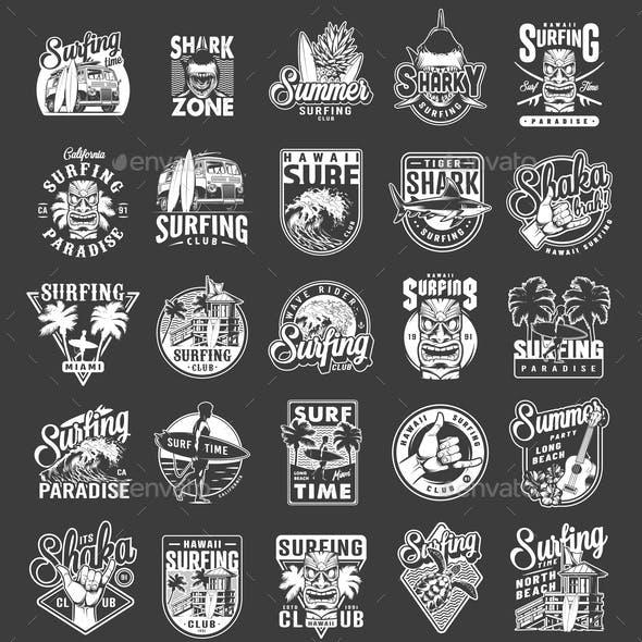 Vintage Summer Surfing Emblems