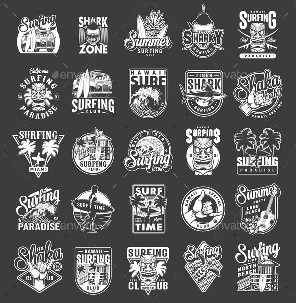 Vintage Summer Surfing Emblems - Sports/Activity Conceptual