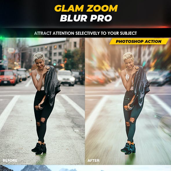 Glam Zoom Blur Pro - Photoshop Action
