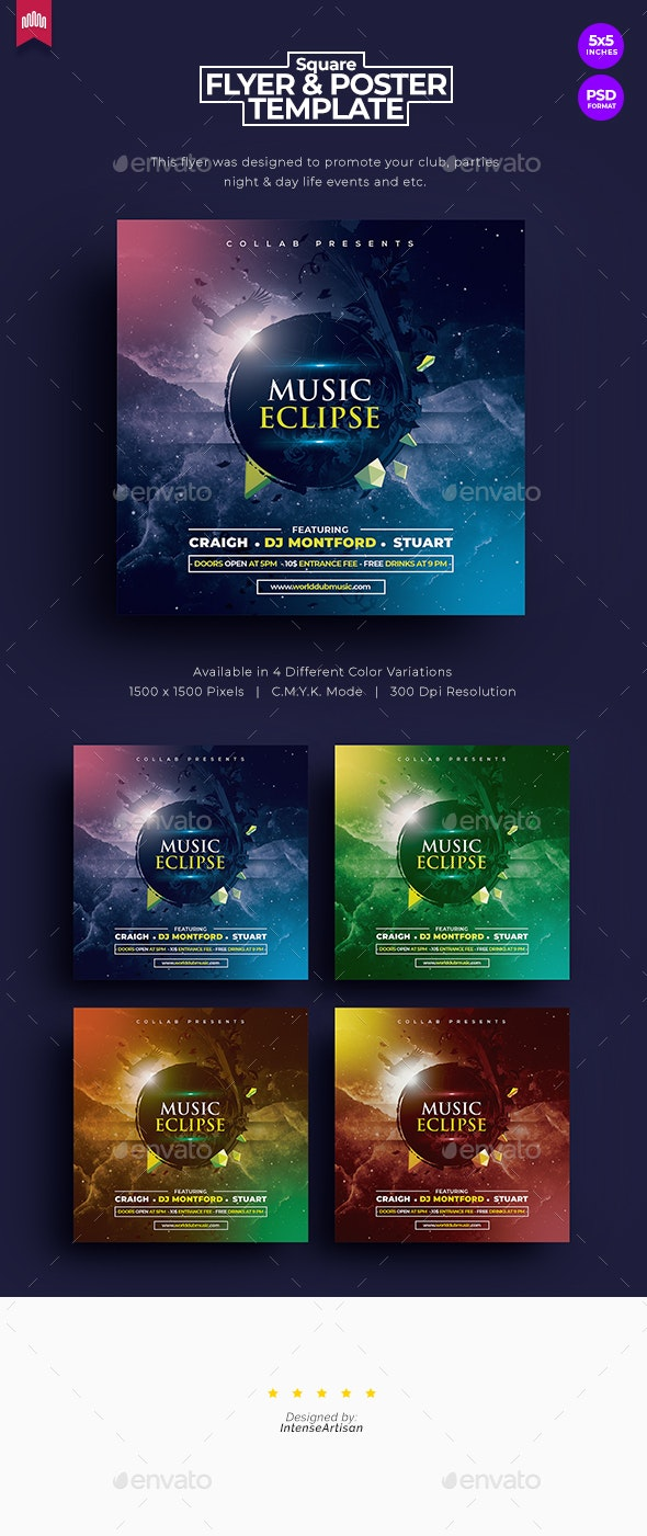 Music Eclipse - Square Flyer - Clubs & Parties Events