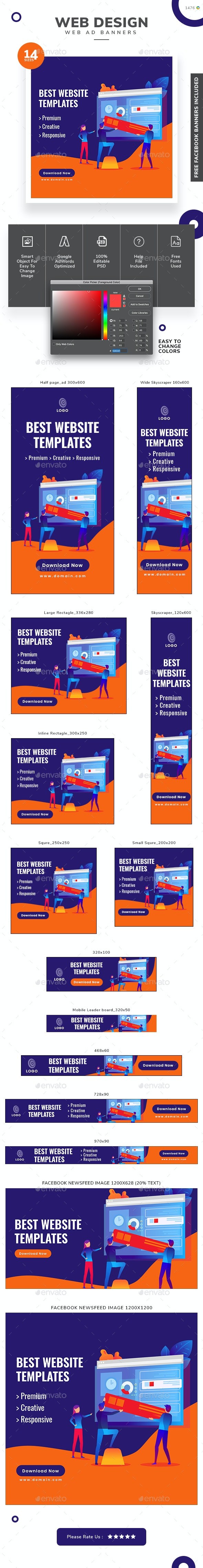 Web Design Web Banner Set - Banners & Ads Web Elements