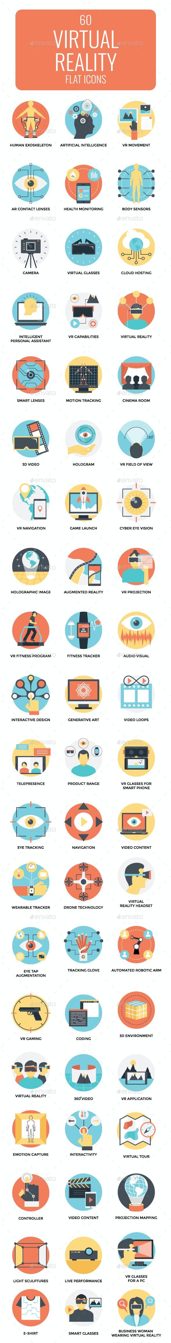 60 Flat Virtual Reality Icons Set - Icons