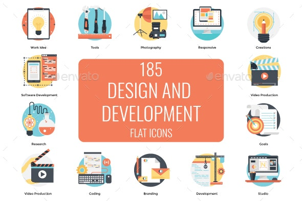 185 Design and Development Flat Icon - Icons