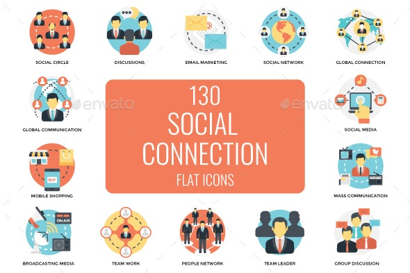 130 Social Connections Flat Icons - Icons