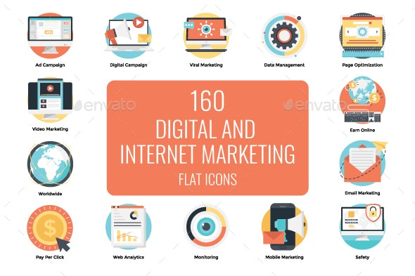 160 Flat Digital Marketing Icons - Icons