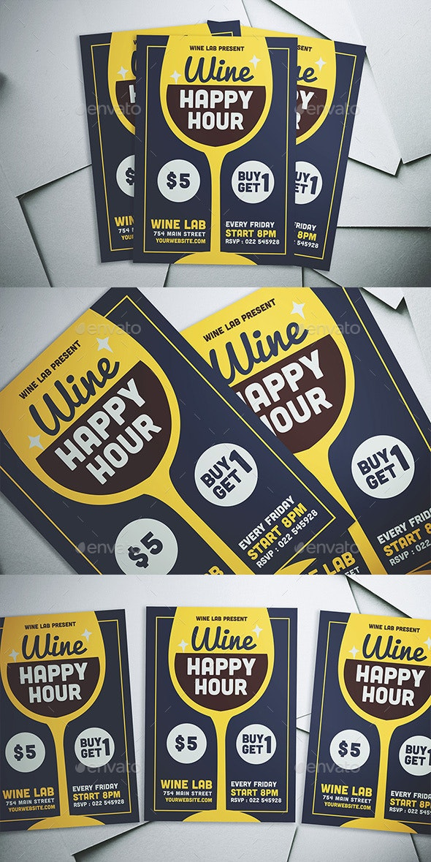 Wine Happy Hour Flyer - Flyers Print Templates