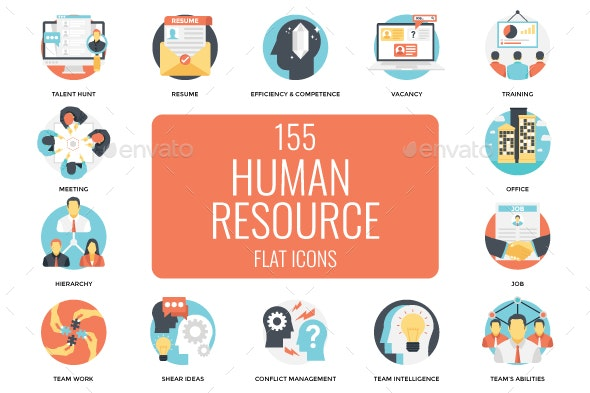 155 Human Resources Flat Vector Icon - Icons