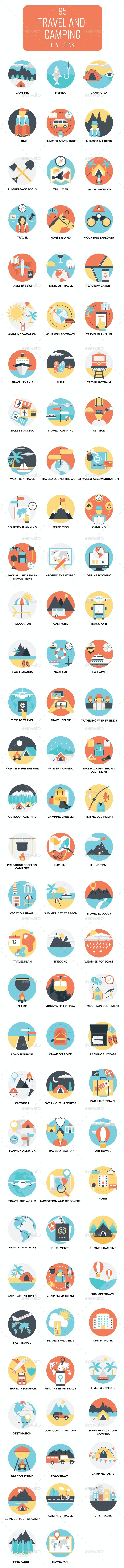 95 Flat Travel and Camping Icons - Icons