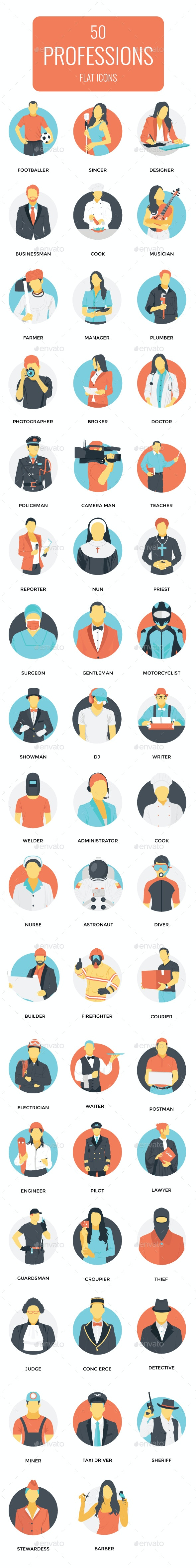 50 Flat Icons Set of Professions - Icons