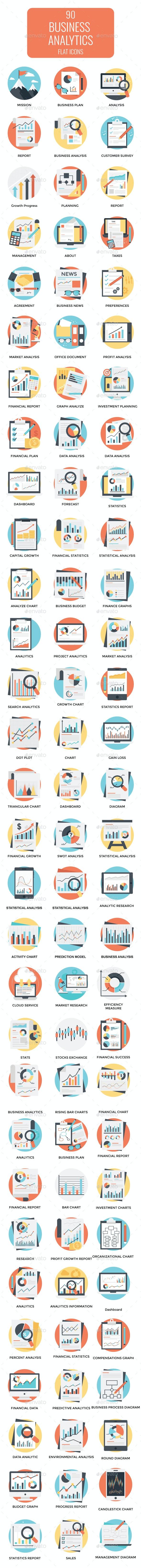 90 Flat Business Analytics Icons - Icons