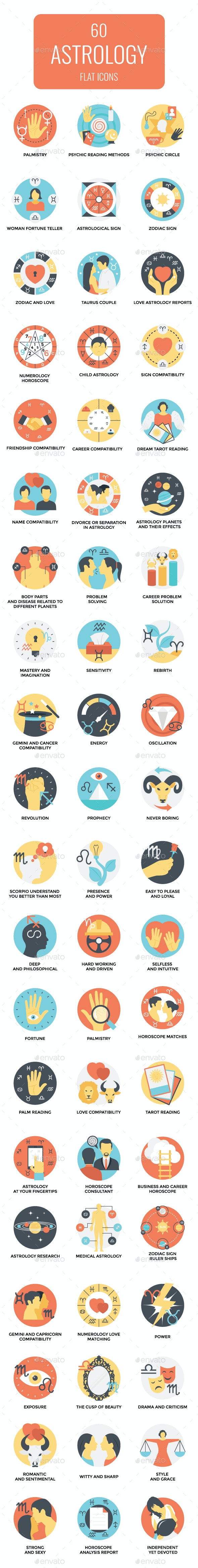 60 Flat Astrology Icons - Icons