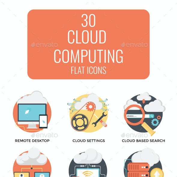 30 Flat Cloud Computing Icons