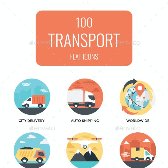 100 Flat Transportation Vector Icons