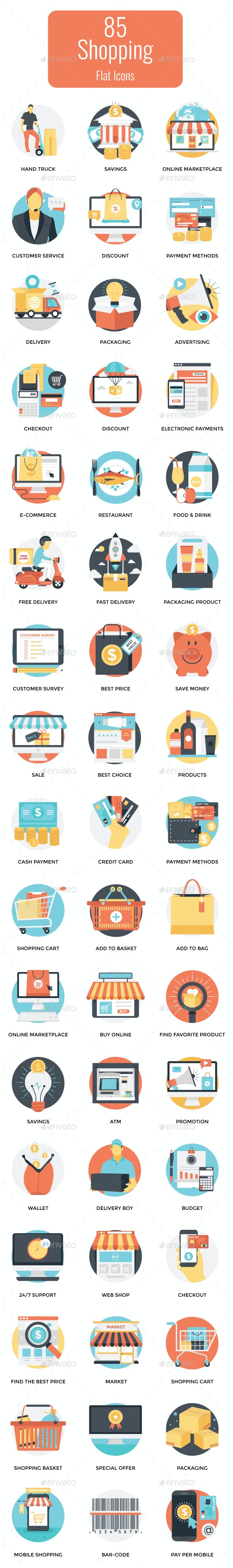 85 Flat Shopping Vector Icons - Icons