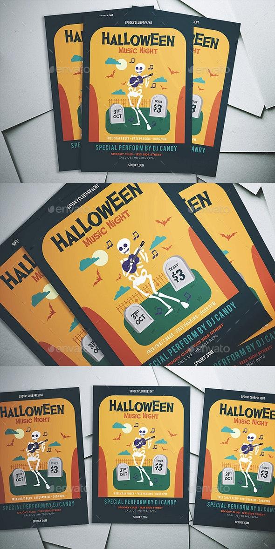 Halloween Music Night Flyer - Flyers Print Templates