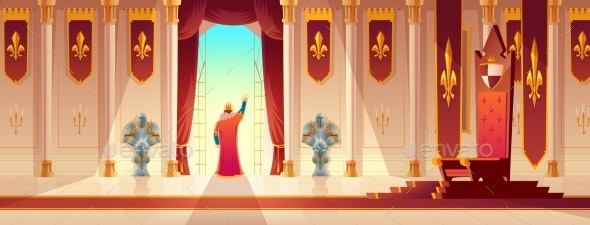 King Greeting Crowd From Balcony Cartoon Vector - Backgrounds Decorative