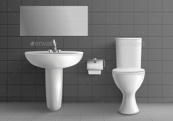 Toilet Room with Washbasin Realistic Vector Mockup - Backgrounds Decorative