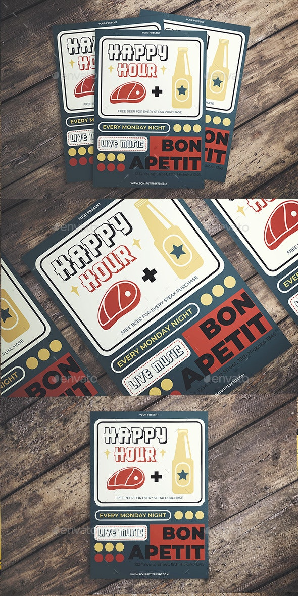 Retro Happy Hour Flyer - Flyers Print Templates