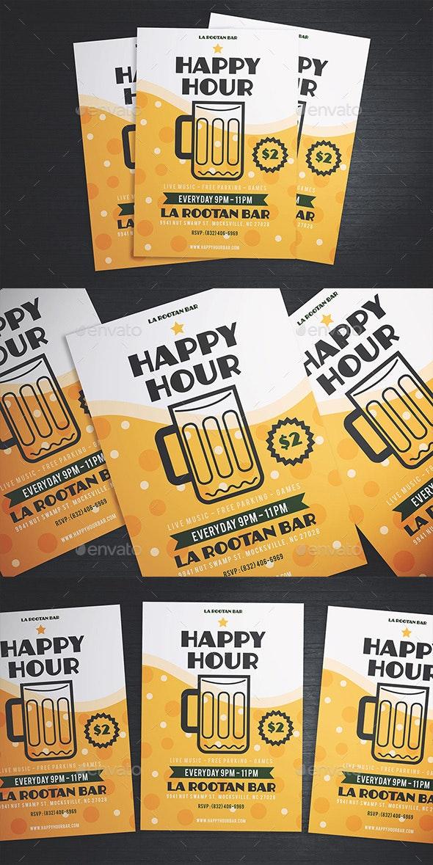 Simple Happy Hour Beer Flyer - Flyers Print Templates