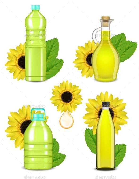 Sunflower Oil Bottle Set, Vector Realistic - Food Objects