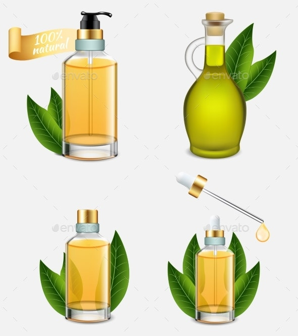 Tea Tree Oil Bottle Set, Vector Realistic - Health/Medicine Conceptual