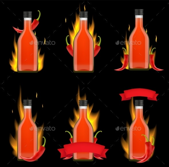 Tabasco Sauce Bottle Package Vector Realistic - Food Objects