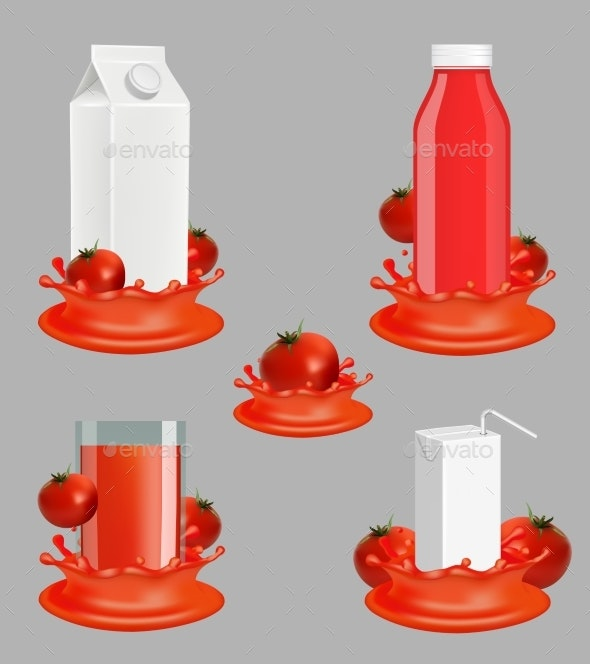 Tomato Juice Package Vector Realistic Mockup Set - Food Objects