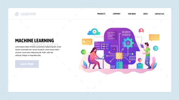 Vector Web Site Design Template Machine Learning - Computers Technology
