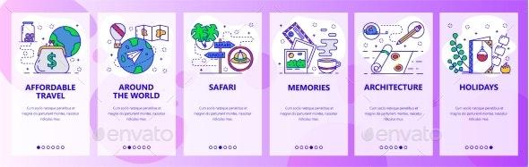 Mobile App Onboarding Screens Travel - Web Elements Vectors