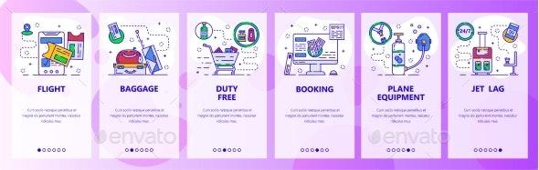 Mobile App Onboarding Screens Travel By Plane - Web Elements Vectors