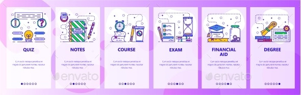 Mobile App Onboarding Screens Education - Web Elements Vectors