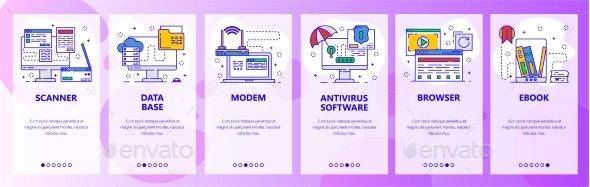 Mobile App Onboarding Screens Computer Hardware - Web Elements Vectors