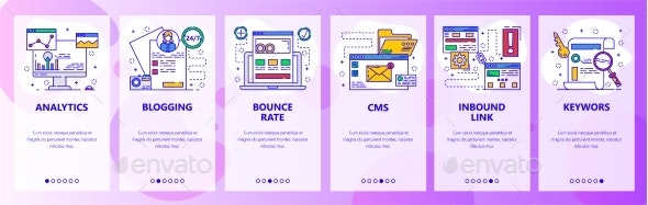 Mobile App Onboarding Screens Online Marketing - Web Elements Vectors