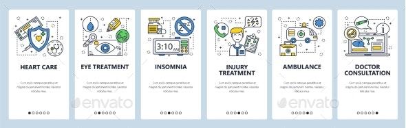 Mobile App Onboarding Screens Medical Treatment - Health/Medicine Conceptual