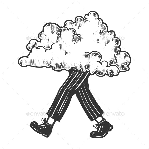 Cloud Walks on its Feet Sketch Engraving Vector
