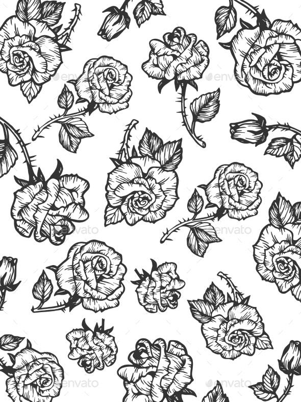 Rain of Rose Flower Sketch Engraving Style Vector - Flowers & Plants Nature