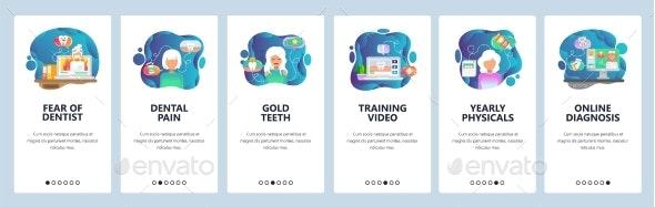 Mobile App Onboarding Screens Dental Care - Health/Medicine Conceptual