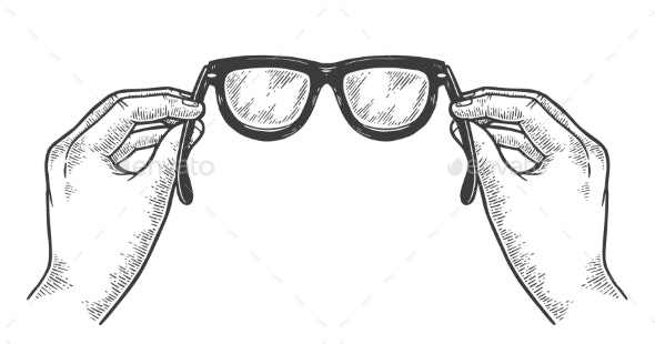 Glasses in Hands Sketch Engraving Vector - Miscellaneous Vectors