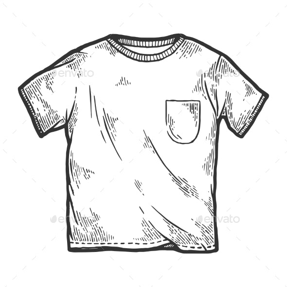 White T-Shirt Sketch Engraving Vector - Man-made Objects Objects