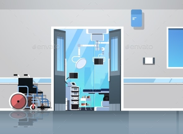 Hospital Corridor with Wheelchair Open Door - Health/Medicine Conceptual