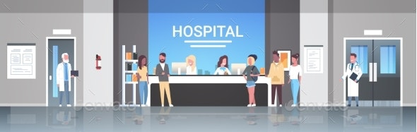 Mix Race Patients Standing Line Queue at Hospital - Health/Medicine Conceptual