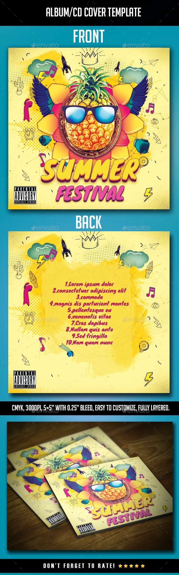 Summer Festival Album CD Cover - CD & DVD Artwork Print Templates