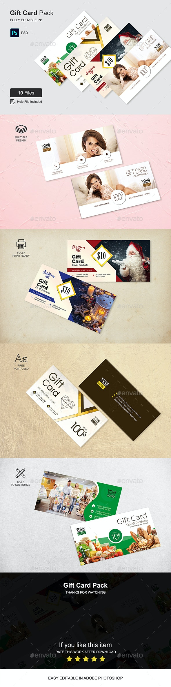 Gift Card Pack - Cards & Invites Print Templates
