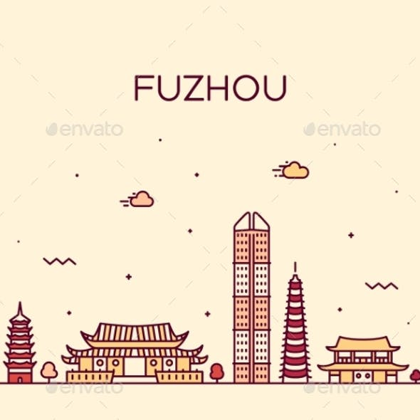 Fuzhou Skyline Fujian Province China Vector Linear