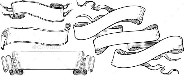 Ribbon Banners Engravin Style - Decorative Symbols Decorative